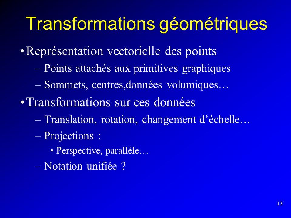 13 Transformations géométriques Représentation vectorielle des points –Points attachés aux primitives graphiques –Sommets, centres,données volumiques…