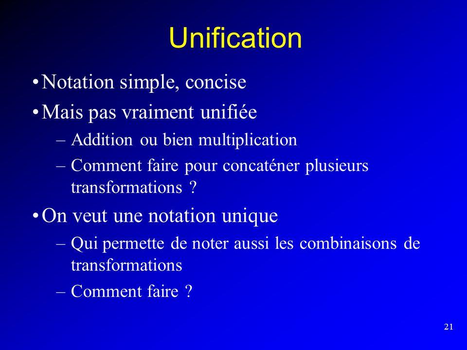 21 Unification Notation simple, concise Mais pas vraiment unifiée –Addition ou bien multiplication –Comment faire pour concaténer plusieurs transforma