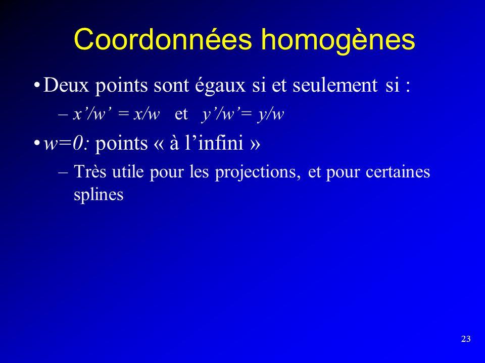23 Coordonnées homogènes Deux points sont égaux si et seulement si : –x/w = x/w et y/w= y/w w=0: points « à linfini » –Très utile pour les projections