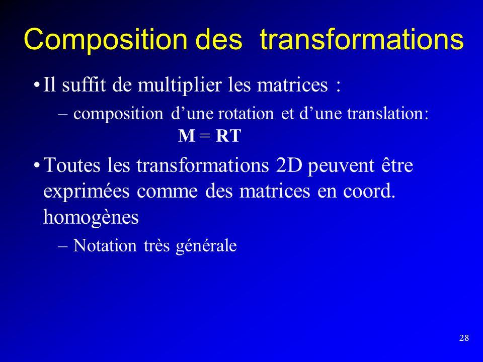 28 Composition des transformations Il suffit de multiplier les matrices : –composition dune rotation et dune translation: M = RT Toutes les transforma