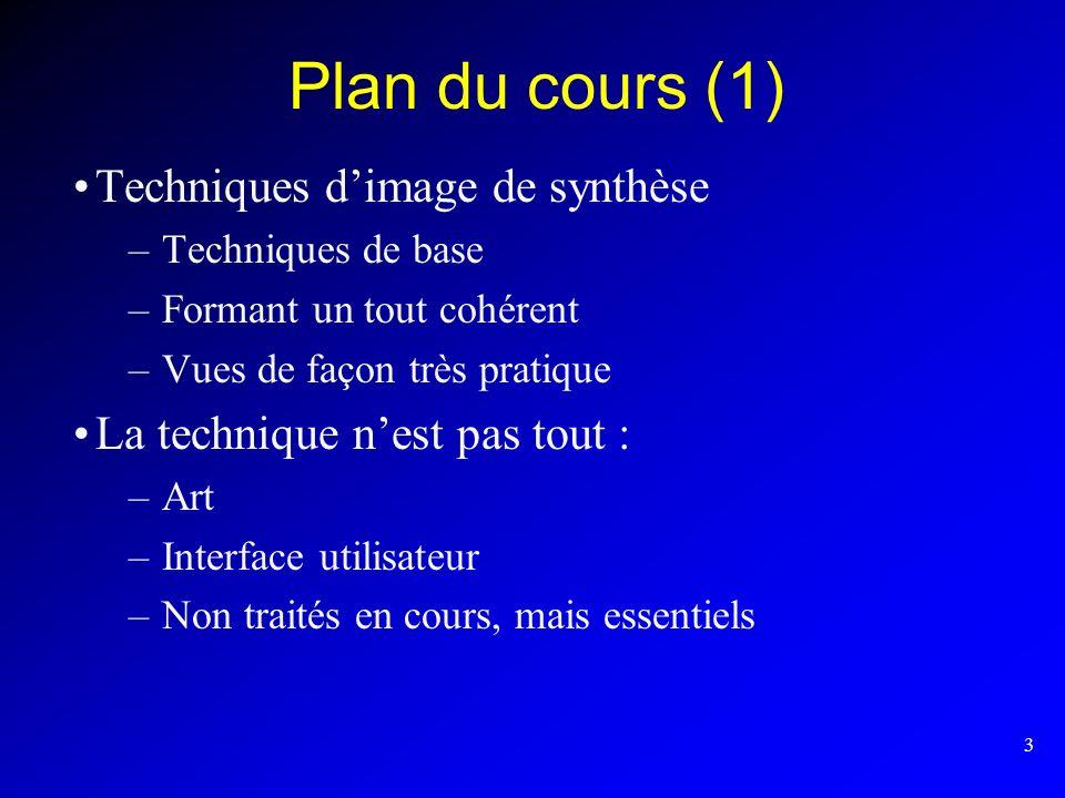 3 Plan du cours (1) Techniques dimage de synthèse –Techniques de base –Formant un tout cohérent –Vues de façon très pratique La technique nest pas tou