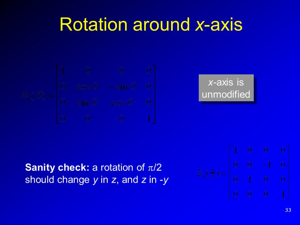 33 Rotation around x-axis Sanity check: a rotation of /2 should change y in z, and z in -y x-axis is unmodified x-axis is unmodified