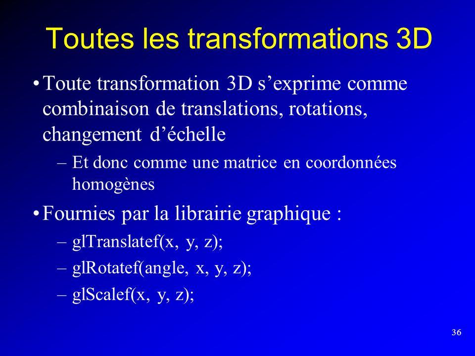 36 Toutes les transformations 3D Toute transformation 3D sexprime comme combinaison de translations, rotations, changement déchelle –Et donc comme une