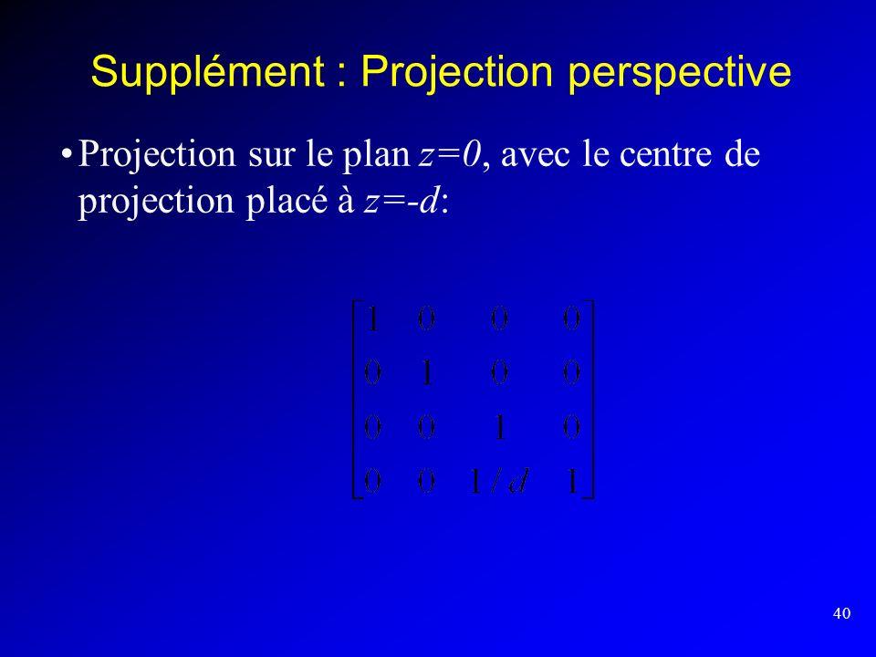 40 Supplément : Projection perspective Projection sur le plan z=0, avec le centre de projection placé à z=-d: