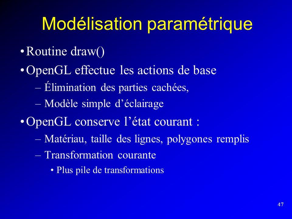 47 Modélisation paramétrique Routine draw() OpenGL effectue les actions de base –Élimination des parties cachées, –Modèle simple déclairage OpenGL con