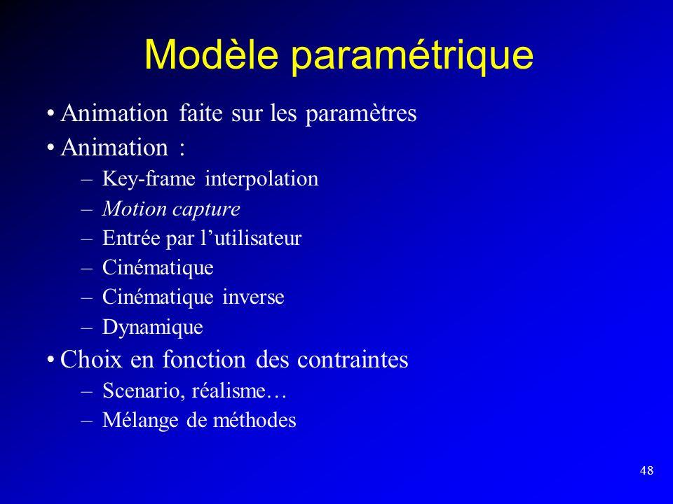 48 Modèle paramétrique Animation faite sur les paramètres Animation : –Key-frame interpolation –Motion capture –Entrée par lutilisateur –Cinématique –