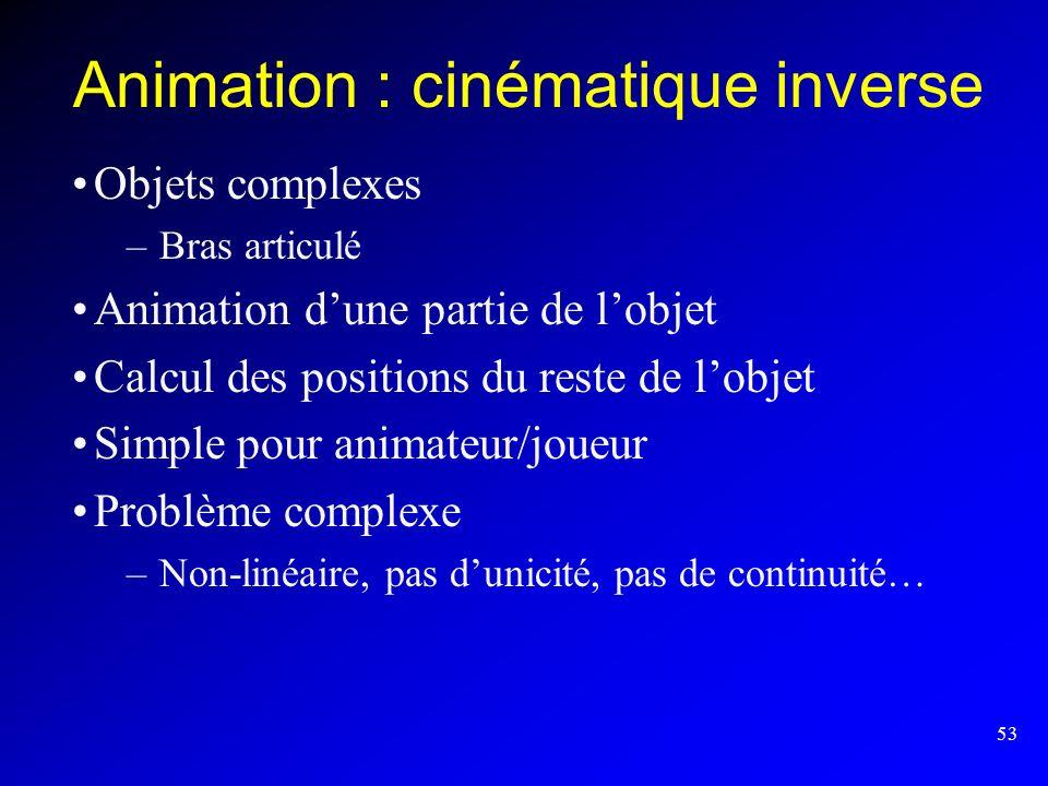 53 Animation : cinématique inverse Objets complexes –Bras articulé Animation dune partie de lobjet Calcul des positions du reste de lobjet Simple pour