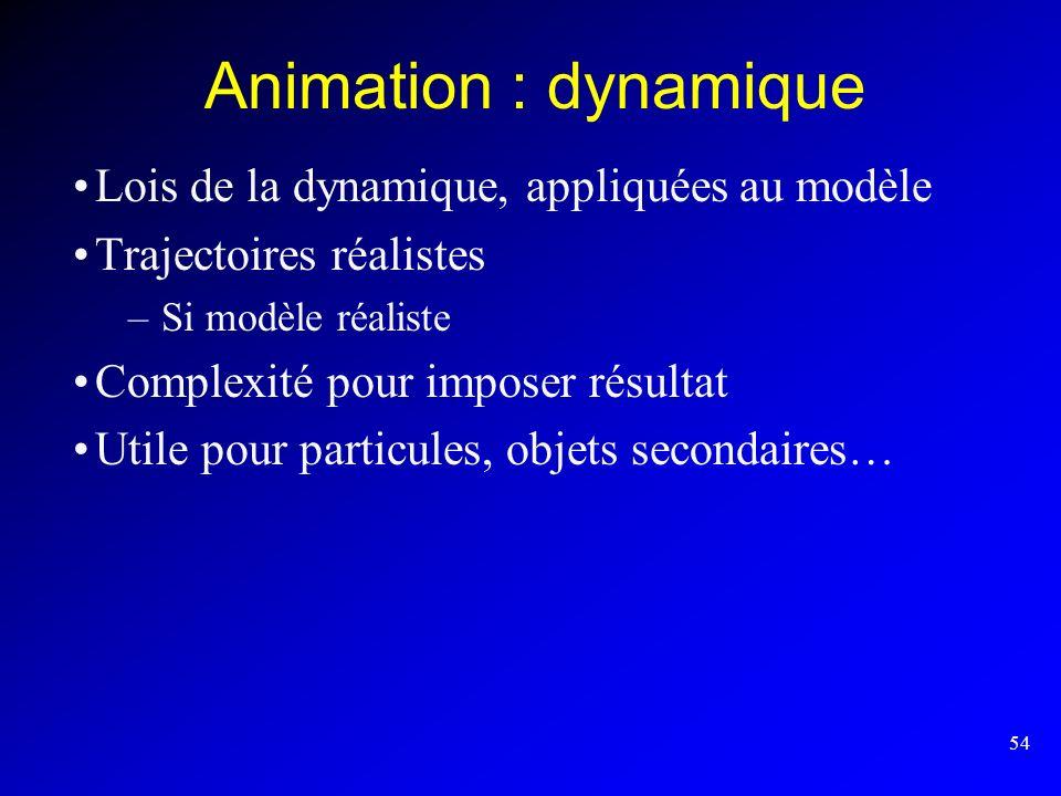 54 Animation : dynamique Lois de la dynamique, appliquées au modèle Trajectoires réalistes –Si modèle réaliste Complexité pour imposer résultat Utile