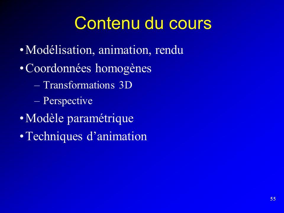 55 Contenu du cours Modélisation, animation, rendu Coordonnées homogènes –Transformations 3D –Perspective Modèle paramétrique Techniques danimation