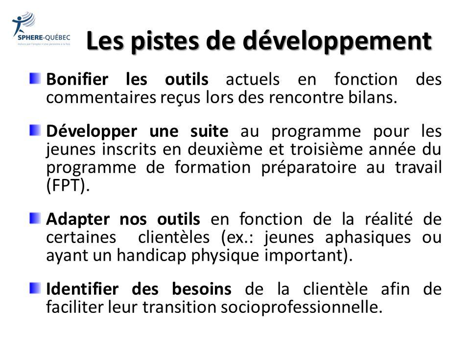 Les pistes de développement Bonifier les outils actuels en fonction des commentaires reçus lors des rencontre bilans. Développer une suite au programm