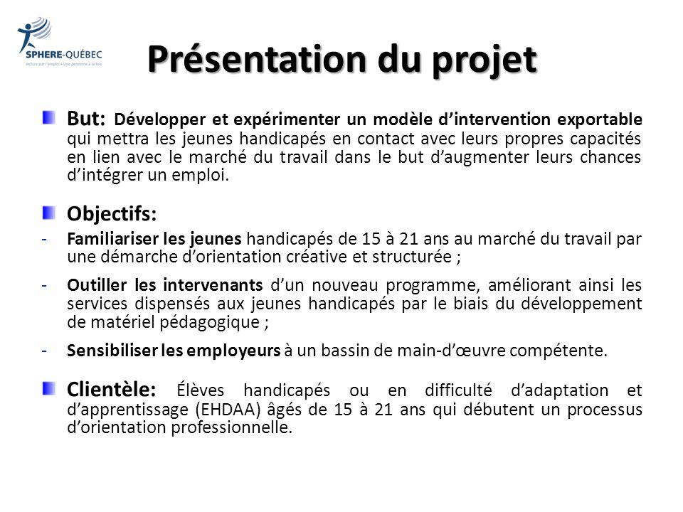 Présentation du projet But: Développer et expérimenter un modèle dintervention exportable qui mettra les jeunes handicapés en contact avec leurs propr