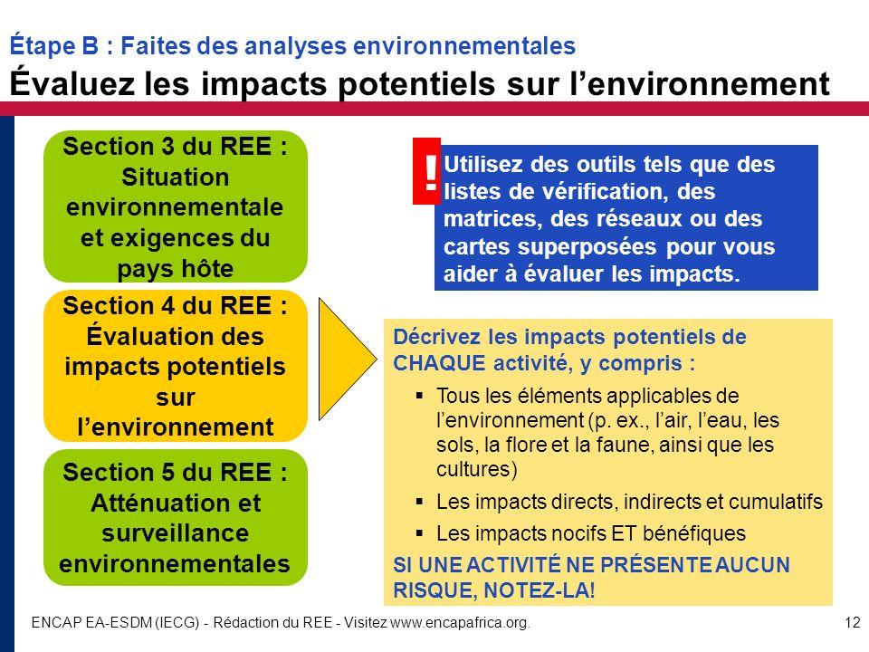 ENCAP EA-ESDM (IECG) - Rédaction du REE - Visitez www.encapafrica.org.12 Section 4 du REE : Évaluation des impacts potentiels sur lenvironnement Secti