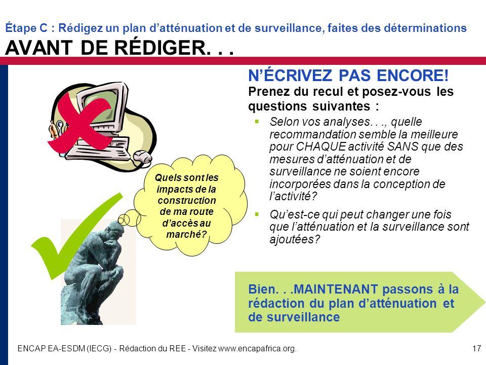ENCAP EA-ESDM (IECG) - Rédaction du REE - Visitez www.encapafrica.org.17 Étape C : Rédigez un plan datténuation et de surveillance, faites des détermi