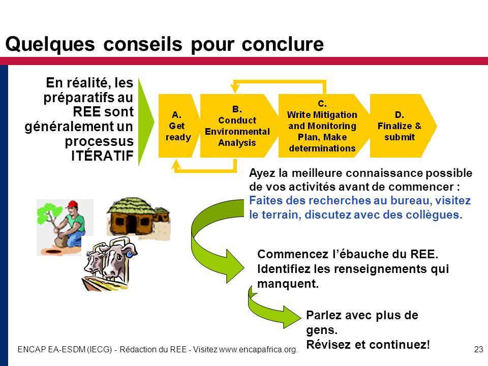 ENCAP EA-ESDM (IECG) - Rédaction du REE - Visitez www.encapafrica.org.23 Quelques conseils pour conclure En réalité, les préparatifs au REE sont génér