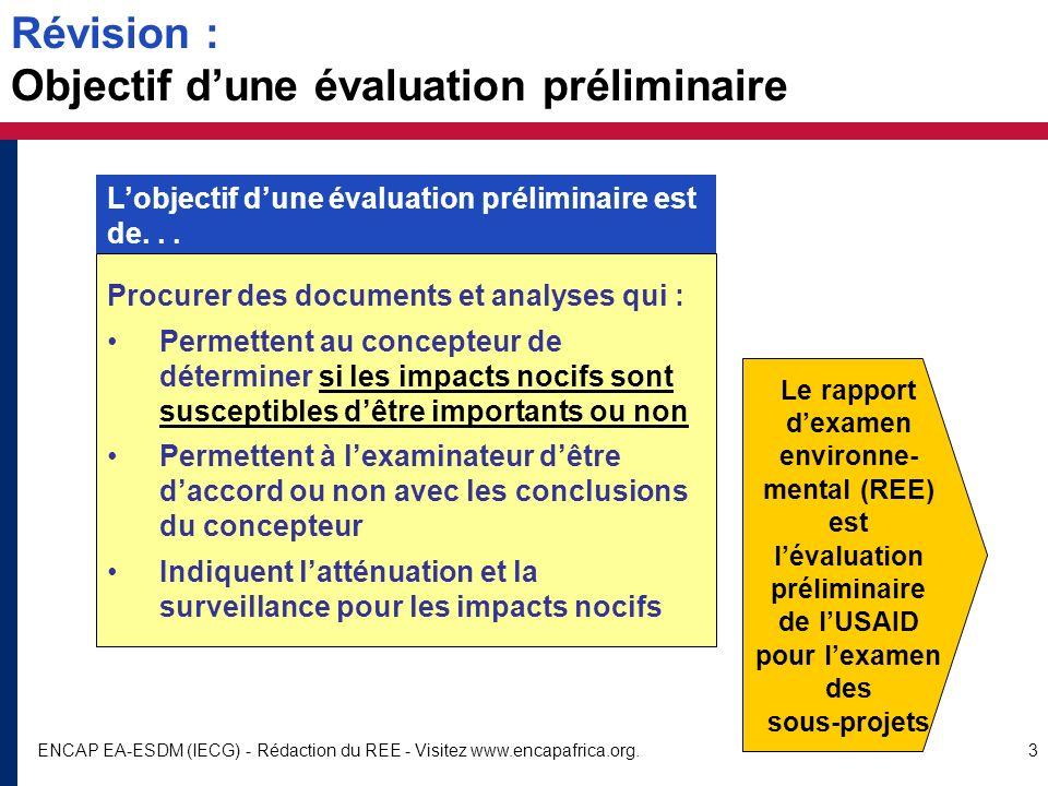 ENCAP EA-ESDM (IECG) - Rédaction du REE - Visitez www.encapafrica.org.4 Le rapport dexamen environnemental (REE) Dans cette présentation, nous utilisons le REE comme exemple dévaluation préliminaire Aperçu dun REE 1.Sommaire de la proposition 2.