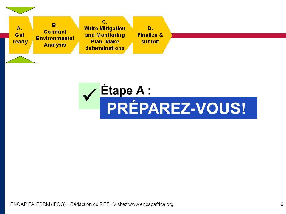 ENCAP EA-ESDM (IECG) - Rédaction du REE - Visitez www.encapafrica.org.17 Étape C : Rédigez un plan datténuation et de surveillance, faites des déterminations AVANT DE RÉDIGER...