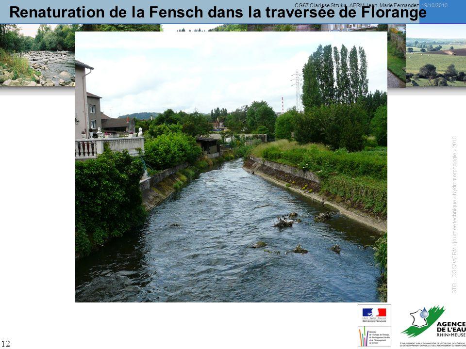 CG57 Clarisse Stzuka -AERM Jean-Marie Fernandez 19/10/2010 12 Renaturation de la Fensch dans la traversée de Florange STB – CG57/AERM - journée techni