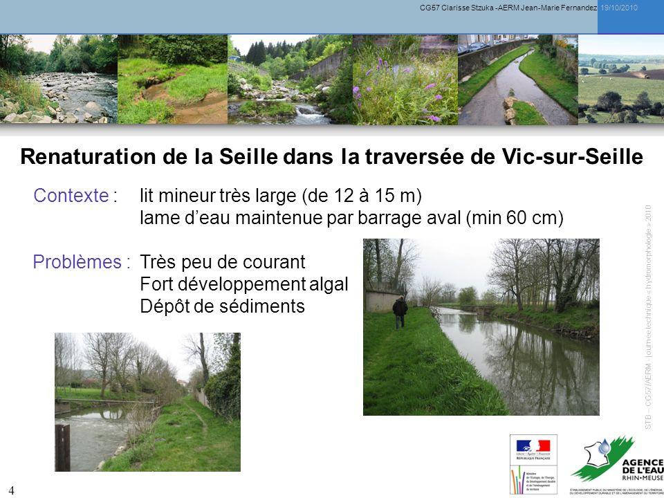 CG57 Clarisse Stzuka -AERM Jean-Marie Fernandez 19/10/2010 4 Renaturation de la Seille dans la traversée de Vic-sur-Seille Contexte : lit mineur très