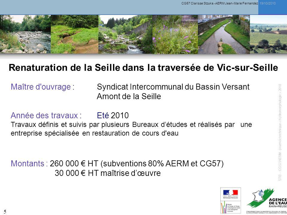 CG57 Clarisse Stzuka -AERM Jean-Marie Fernandez 19/10/2010 5 Renaturation de la Seille dans la traversée de Vic-sur-Seille Montants : 260 000 HT (subv