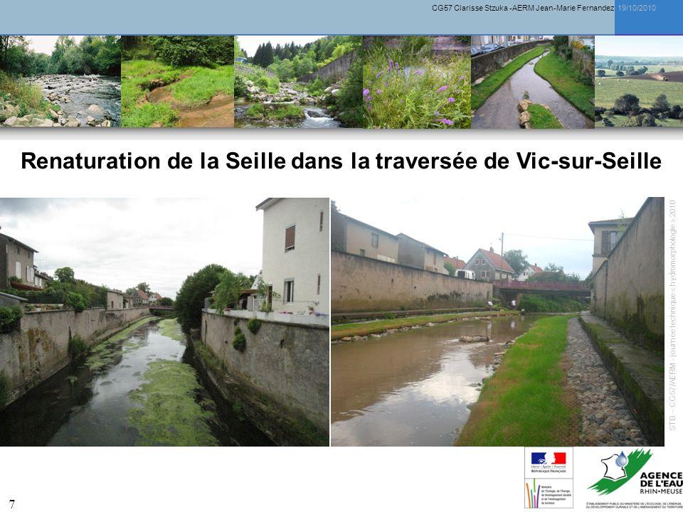 CG57 Clarisse Stzuka -AERM Jean-Marie Fernandez 19/10/2010 8 Renaturation de la Seille dans la traversée de Vic-sur-Seille STB – CG57/AERM - journée technique « hydromorphologie » 2010