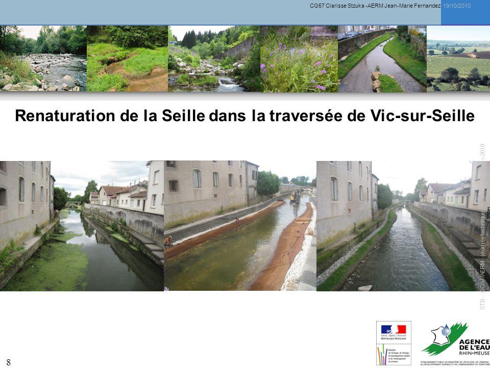 CG57 Clarisse Stzuka -AERM Jean-Marie Fernandez 19/10/2010 9 Renaturation de la Seille dans la traversée de Vic-sur-Seille STB – CG57/AERM - journée technique « hydromorphologie » 2010