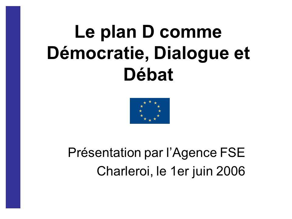Le plan D comme Démocratie, Dialogue et Débat Présentation par lAgence FSE Charleroi, le 1er juin 2006