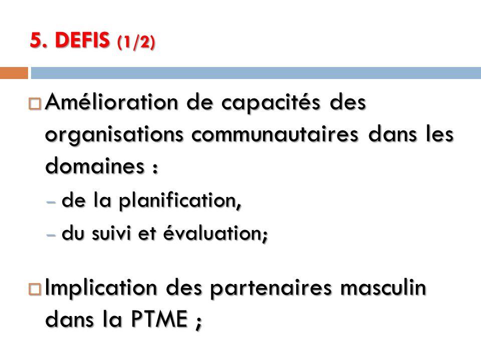 5. DEFIS (1/2) Amélioration de capacités des organisations communautaires dans les domaines : Amélioration de capacités des organisations communautair