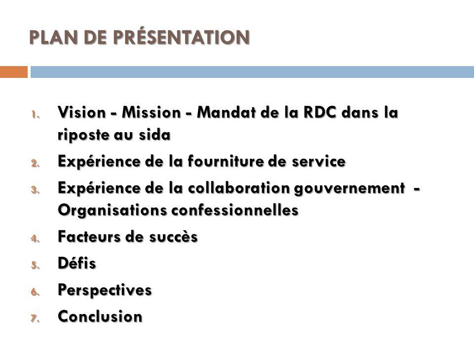 PLAN DE PRÉSENTATION 1. Vision - Mission - Mandat de la RDC dans la riposte au sida 2. Expérience de la fourniture de service 3. Expérience de la coll