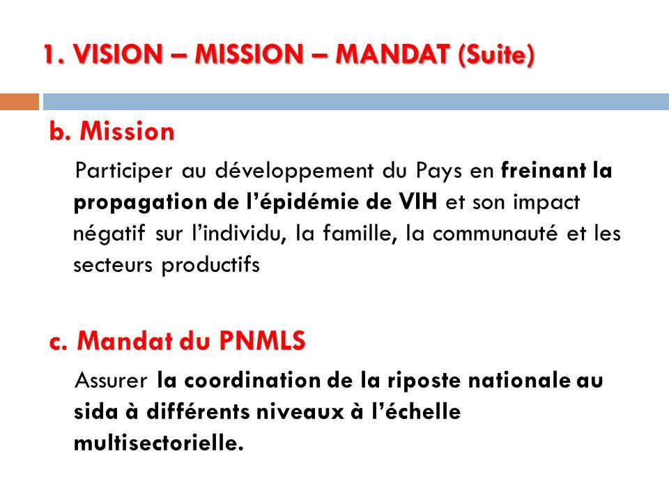 1. VISION – MISSION – MANDAT (Suite) b. Mission Participer au développement du Pays en freinant la propagation de lépidémie de VIH et son impact négat