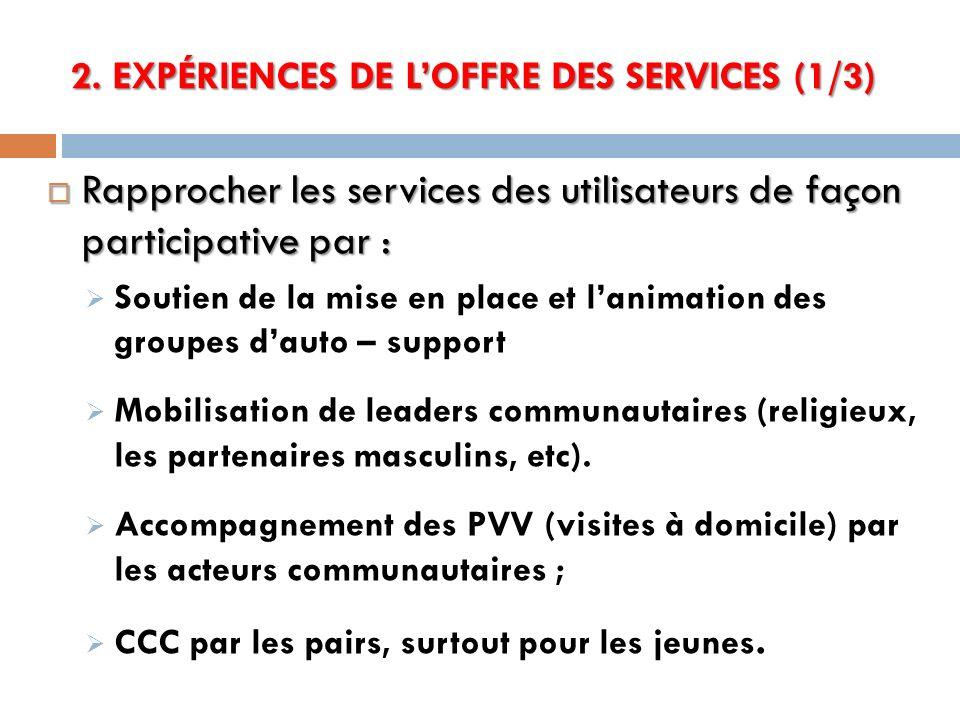2. EXPÉRIENCES DE LOFFRE DES SERVICES (1/3) Rapprocher les services des utilisateurs de façon participative par : Rapprocher les services des utilisat