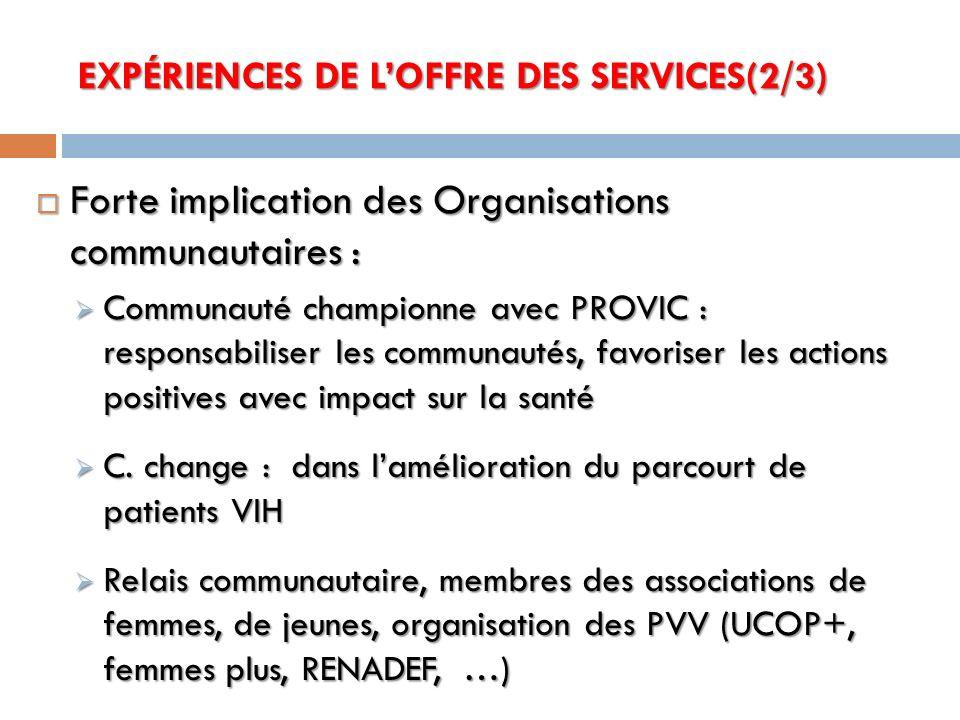 Forte implication des Organisations communautaires : Forte implication des Organisations communautaires : Communauté championne avec PROVIC : responsa