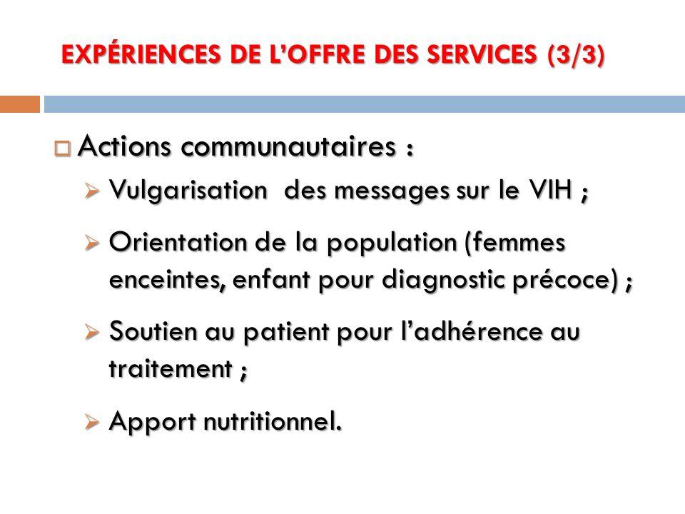 Actions communautaires : Actions communautaires : Vulgarisation des messages sur le VIH ; Vulgarisation des messages sur le VIH ; Orientation de la po