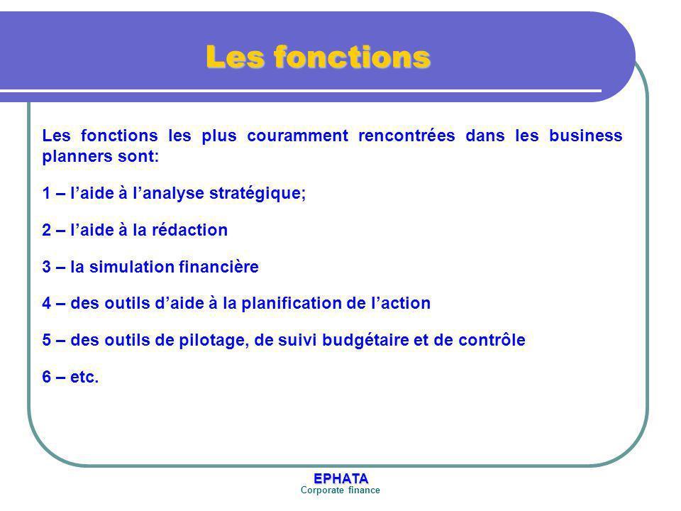 EPHATA Corporate finance Montpellier Business Pan FONCTIONNALITES Les outils Une palette d autres outils est proposée pour gérer les composantes non financières d un projet.