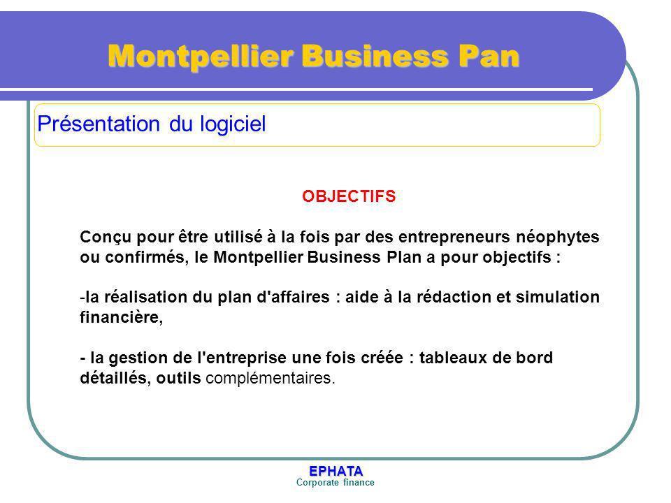 EPHATA Corporate finance Montpellier Business Pan FONCTIONNALITES Aide à la rédaction dun business plan La partie rédaction d un business plan est une méthode d aide à la rédaction du plan d affaires.