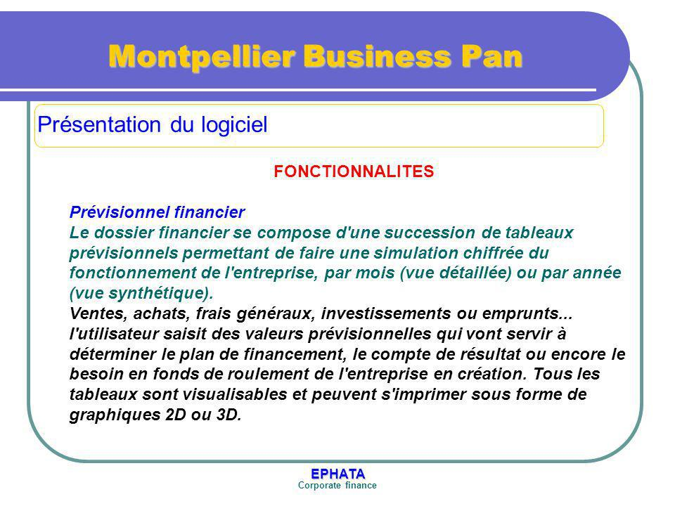 EPHATA Corporate finance Montpellier Business Pan FONCTIONNALITES Prévisionnel financier Le dossier financier se compose d une succession de tableaux prévisionnels permettant de faire une simulation chiffrée du fonctionnement de l entreprise, par mois (vue détaillée) ou par année (vue synthétique).