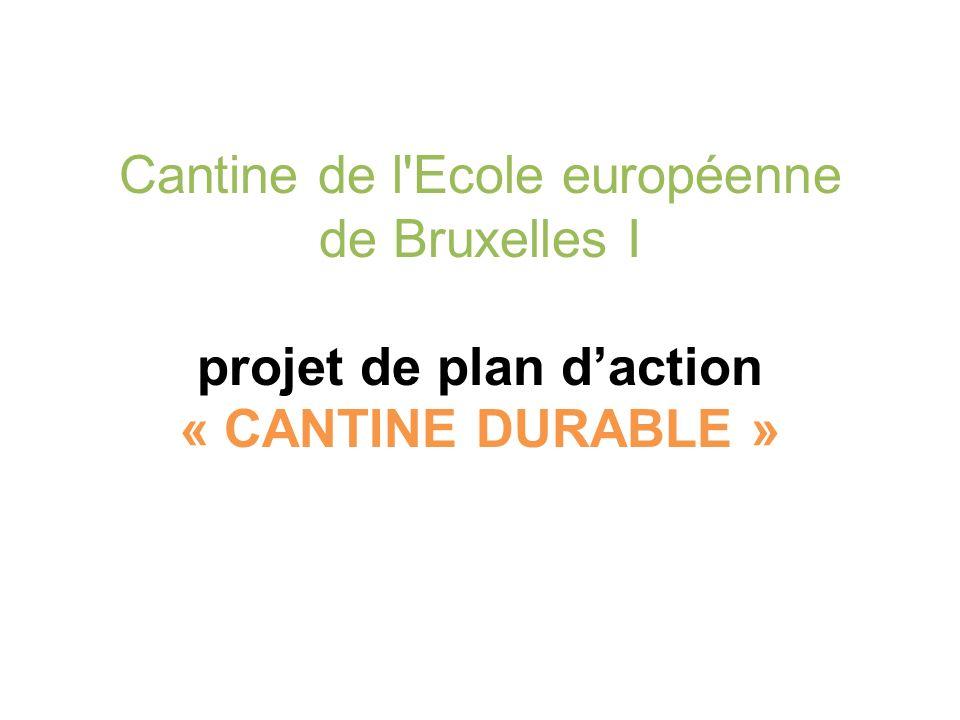 Cantine de l Ecole européenne de Bruxelles I projet de plan daction « CANTINE DURABLE »