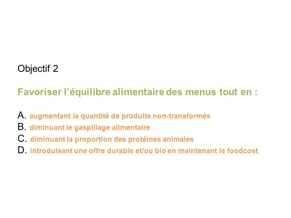 Objectif 2 Favoriser léquilibre alimentaire des menus tout en : A.
