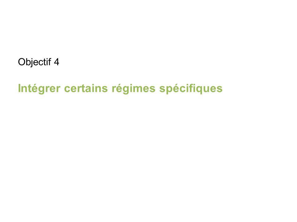 Objectif 4 Intégrer certains régimes spécifiques