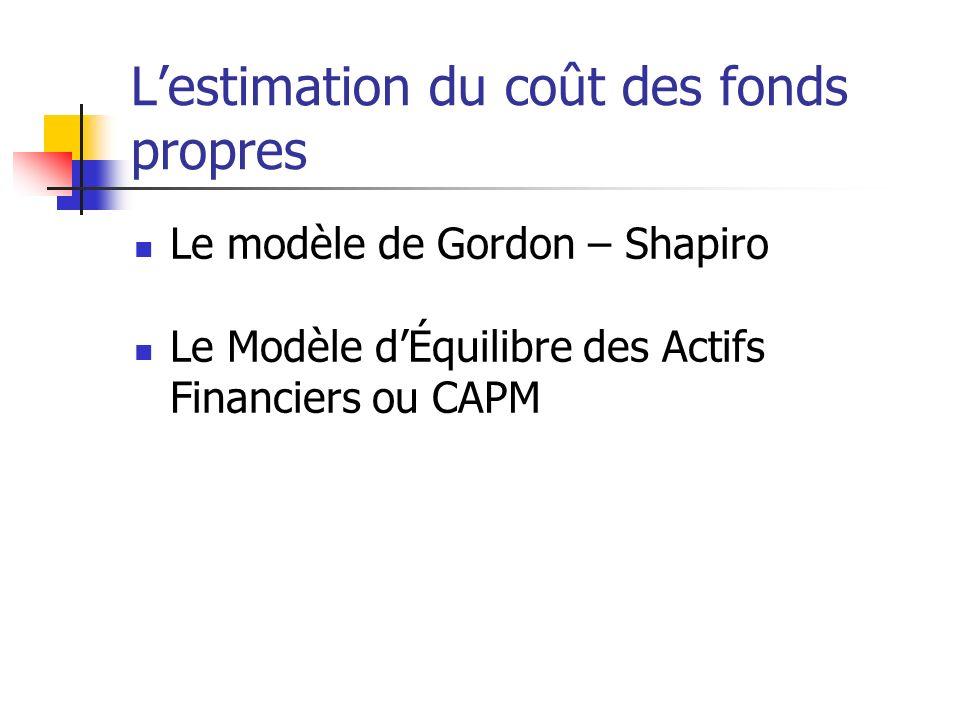 Lestimation du coût des fonds propres Le modèle de Gordon – Shapiro Le Modèle dÉquilibre des Actifs Financiers ou CAPM