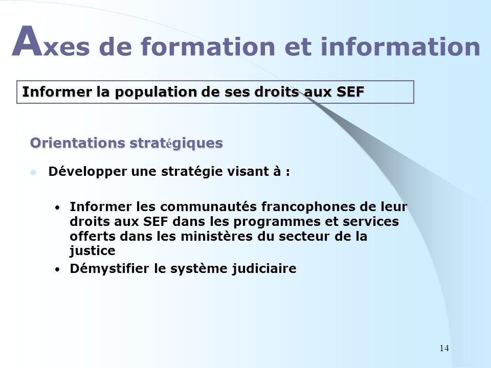 Orientations strat é giques Développer une stratégie visant à : Informer les communautés francophones de leur droits aux SEF dans les programmes et se