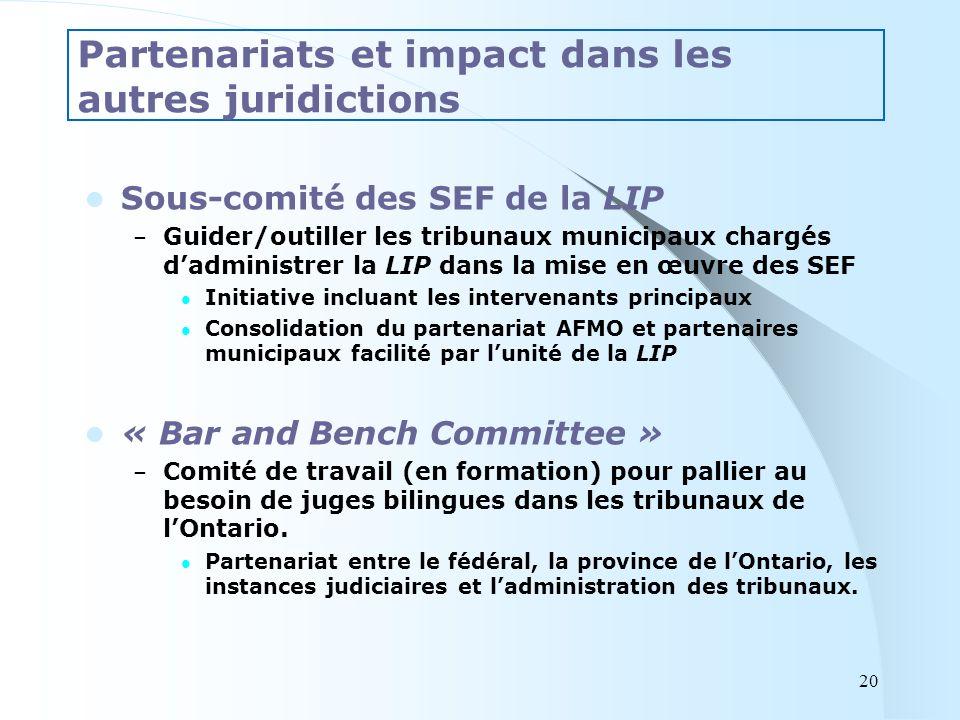 Sous-comité des SEF de la LIP – Guider/outiller les tribunaux municipaux chargés dadministrer la LIP dans la mise en œuvre des SEF Initiative incluant les intervenants principaux Consolidation du partenariat AFMO et partenaires municipaux facilité par lunité de la LIP « Bar and Bench Committee » – Comité de travail (en formation) pour pallier au besoin de juges bilingues dans les tribunaux de lOntario.