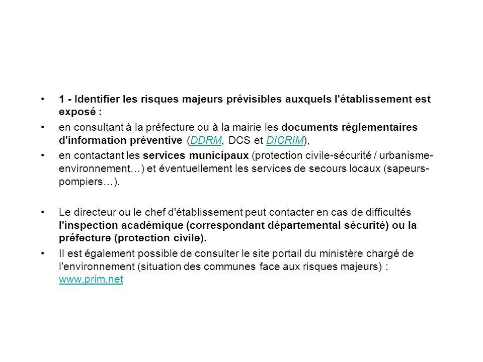 1 - Identifier les risques majeurs prévisibles auxquels l'établissement est exposé : en consultant à la préfecture ou à la mairie les documents réglem
