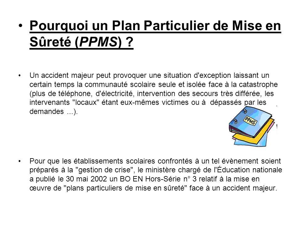 Pourquoi un Plan Particulier de Mise en Sûreté (PPMS) ? Un accident majeur peut provoquer une situation d'exception laissant un certain temps la commu