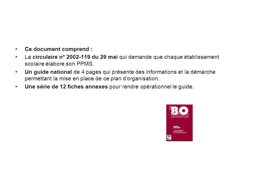 Ce document comprend : La circulaire n° 2002-119 du 29 mai qui demande que chaque établissement scolaire élabore son PPMS. Un guide national de 4 page