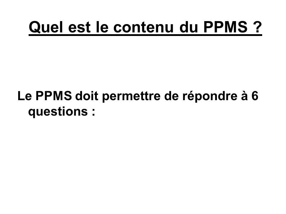 Quel est le contenu du PPMS ? Le PPMS doit permettre de répondre à 6 questions :