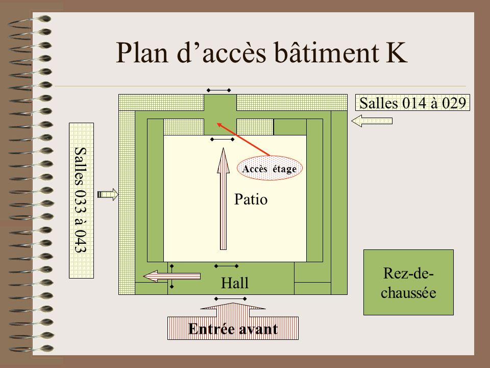 Plan du premier étage Salles 135 à 155 Salles 114 à 133 Premier étage TC Direction des études K108 Patio Secrétariat K109 Bureaux des enseignants Accès rez- de-chaussée Ingénieur et techniciens K113 Salle de réunion K101 Salles machines