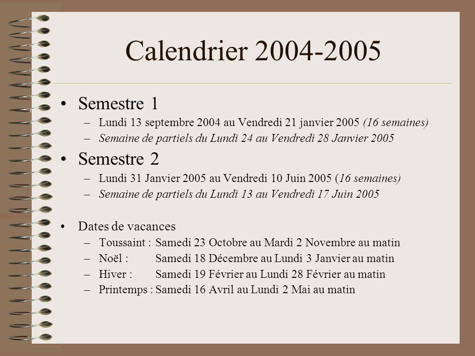 Vie du département (1) Règles de passage en 2ème année : –>= 10/20 de moyenne générale ; >= 8/20 dans chaque U.E.