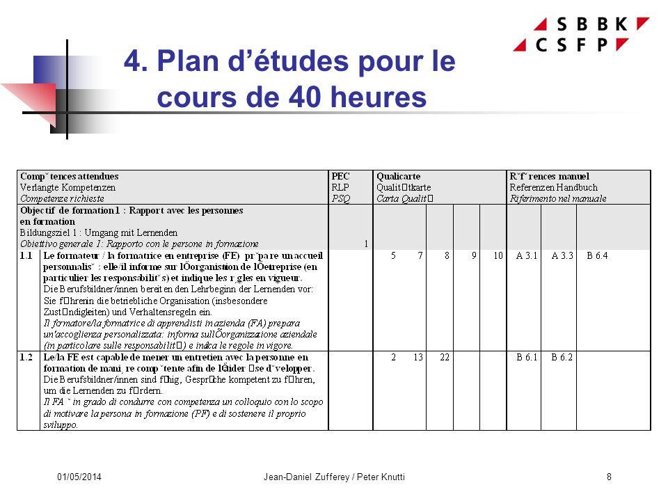 01/05/2014Jean-Daniel Zufferey / Peter Knutti8 4. Plan détudes pour le cours de 40 heures