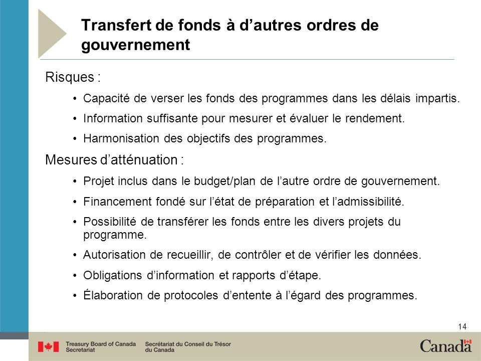 14 Transfert de fonds à dautres ordres de gouvernement Risques : Capacité de verser les fonds des programmes dans les délais impartis. Information suf