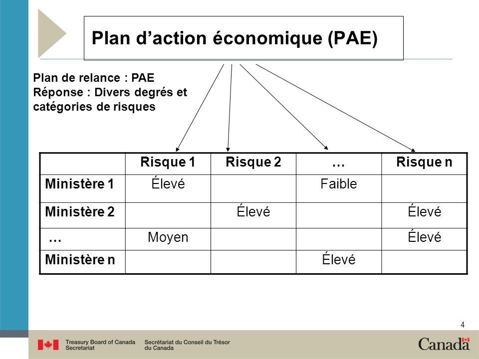 4 Plan daction économique (PAE) Risque 1Risque 2…Risque n Ministère 1ÉlevéFaible Ministère 2Élevé …MoyenÉlevé Ministère nÉlevé Plan de relance : PAE R